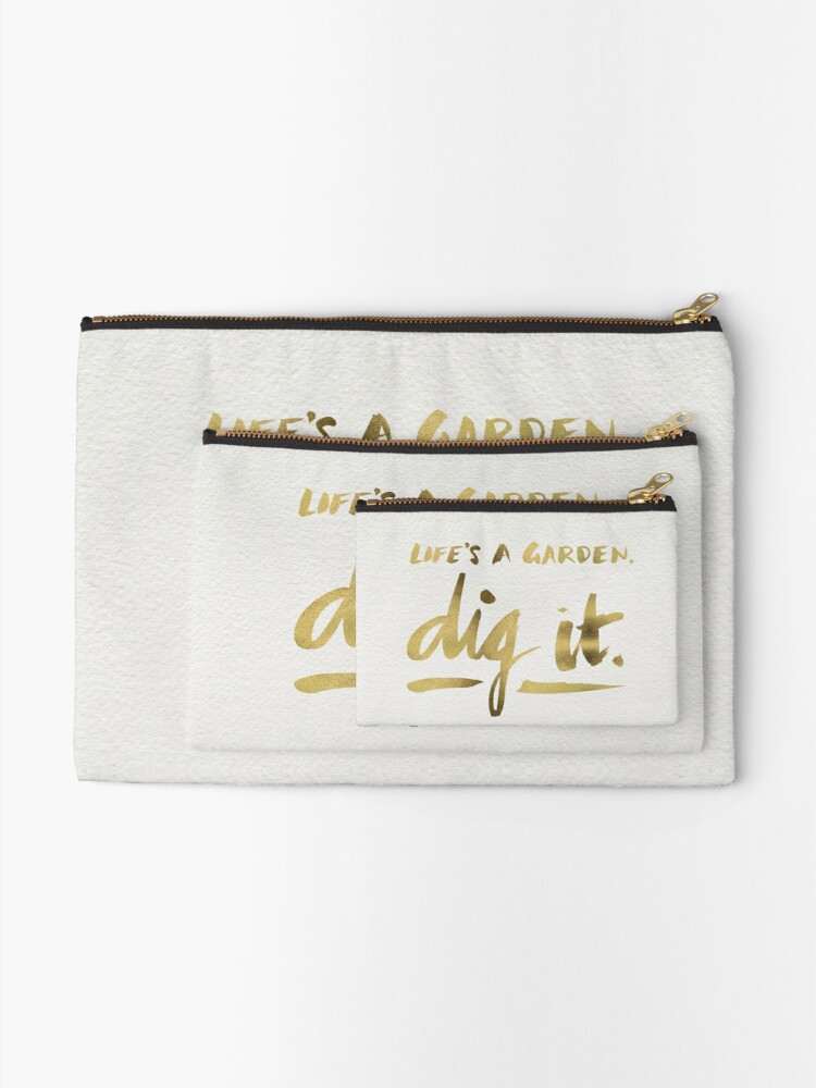 Alternate view of Dig It – Gold Ink Zipper Pouch
