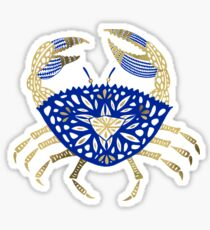 Crab – Navy & Gold Sticker