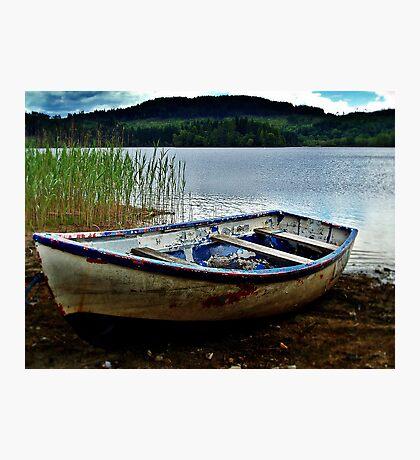 Boat Resting On Loch Ard, Scotland. Photographic Print
