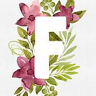 Letter F in watercolor flowers and leaves. Floral monogram. by helga-wigandt
