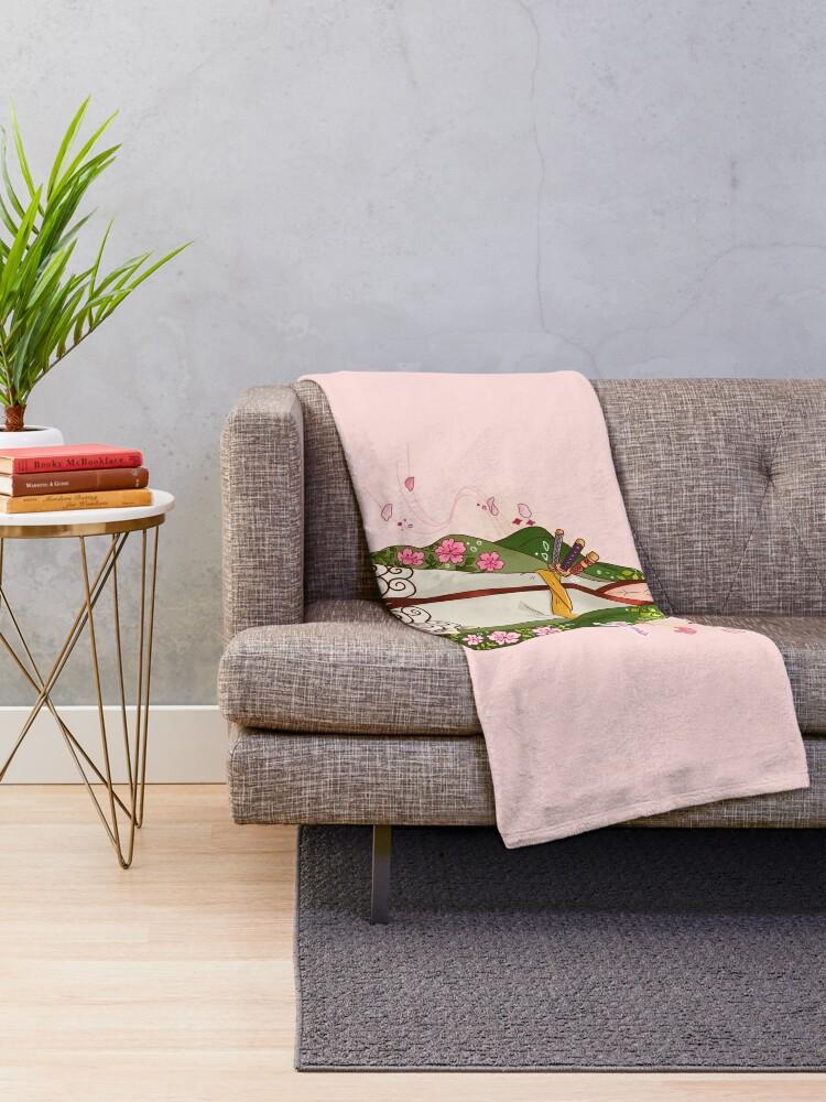 Alternate view of Blossom Samurai Throw Blanket