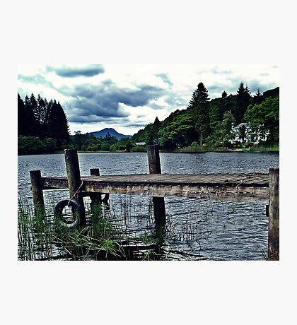 Wooden Jetty On Loch Ard, Scotland Photographic Print