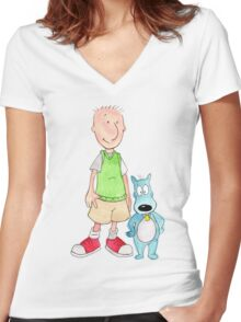 Doug and Porkchop Women's Fitted V-Neck T-Shirt