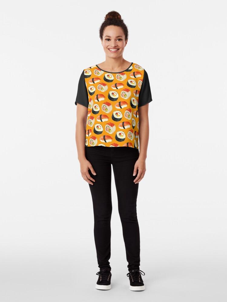Alternate view of Sushi Pattern - Orange Chiffon Top