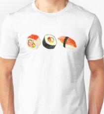 Camiseta ajustada Patrón Sushi - Naranja