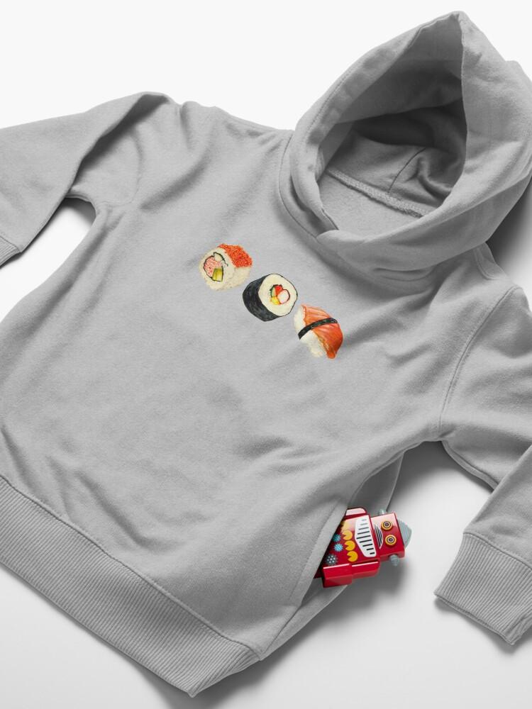 Alternate view of Sushi Pattern - Orange Toddler Pullover Hoodie