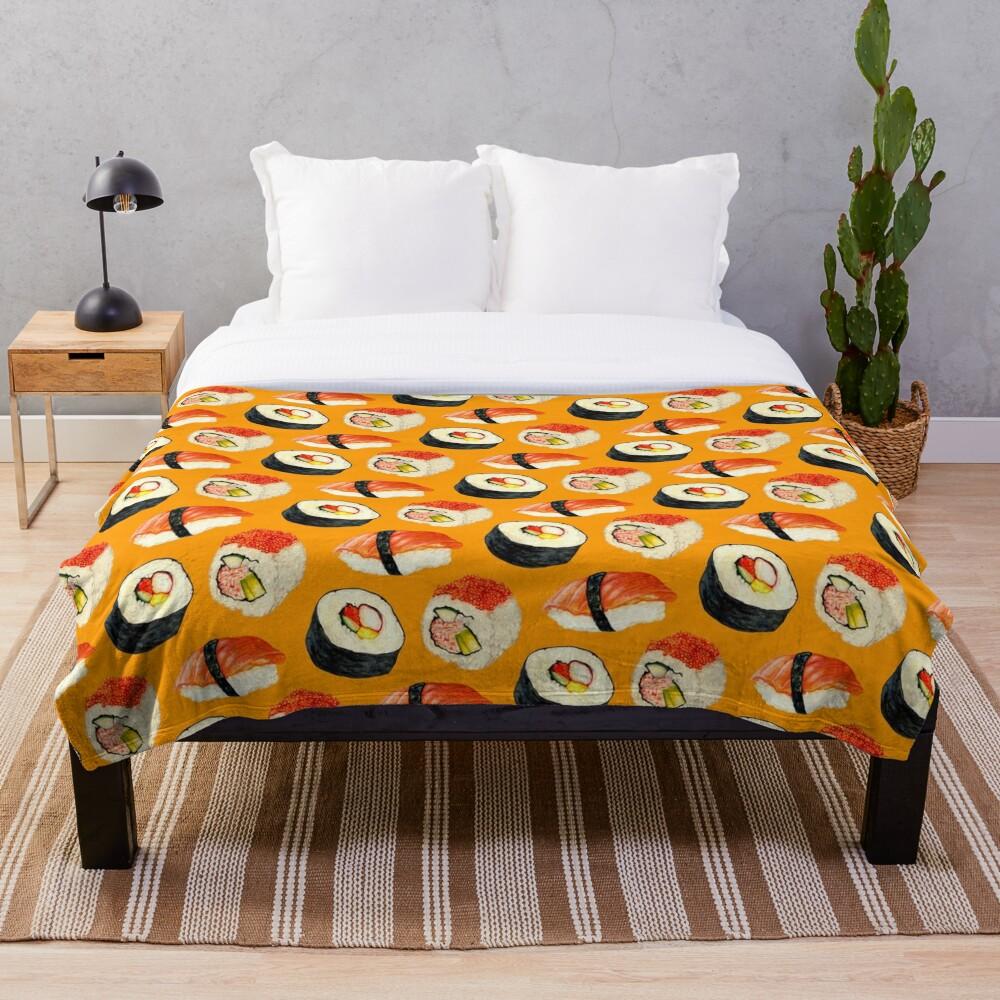 Sushi Pattern - Orange Throw Blanket