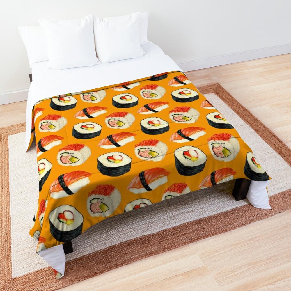 Sushi Pattern - Orange Comforter
