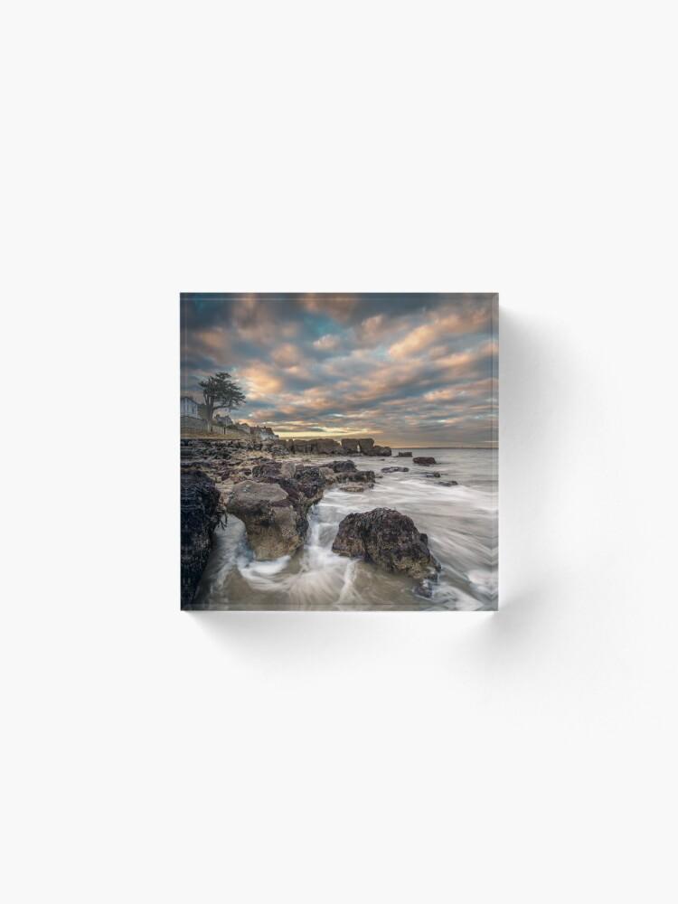 Alternate view of Rocky Beach Sunset At Seaview Isle Of Wight Acrylic Block
