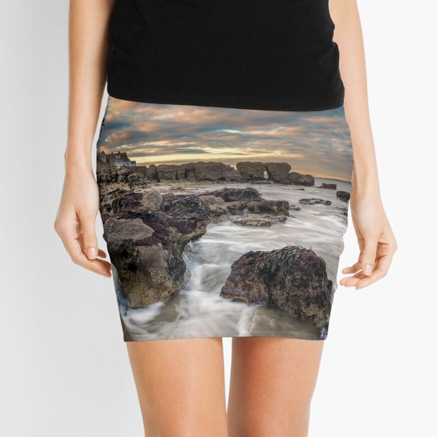 Rocky Beach Sunset At Seaview Isle Of Wight Mini Skirt