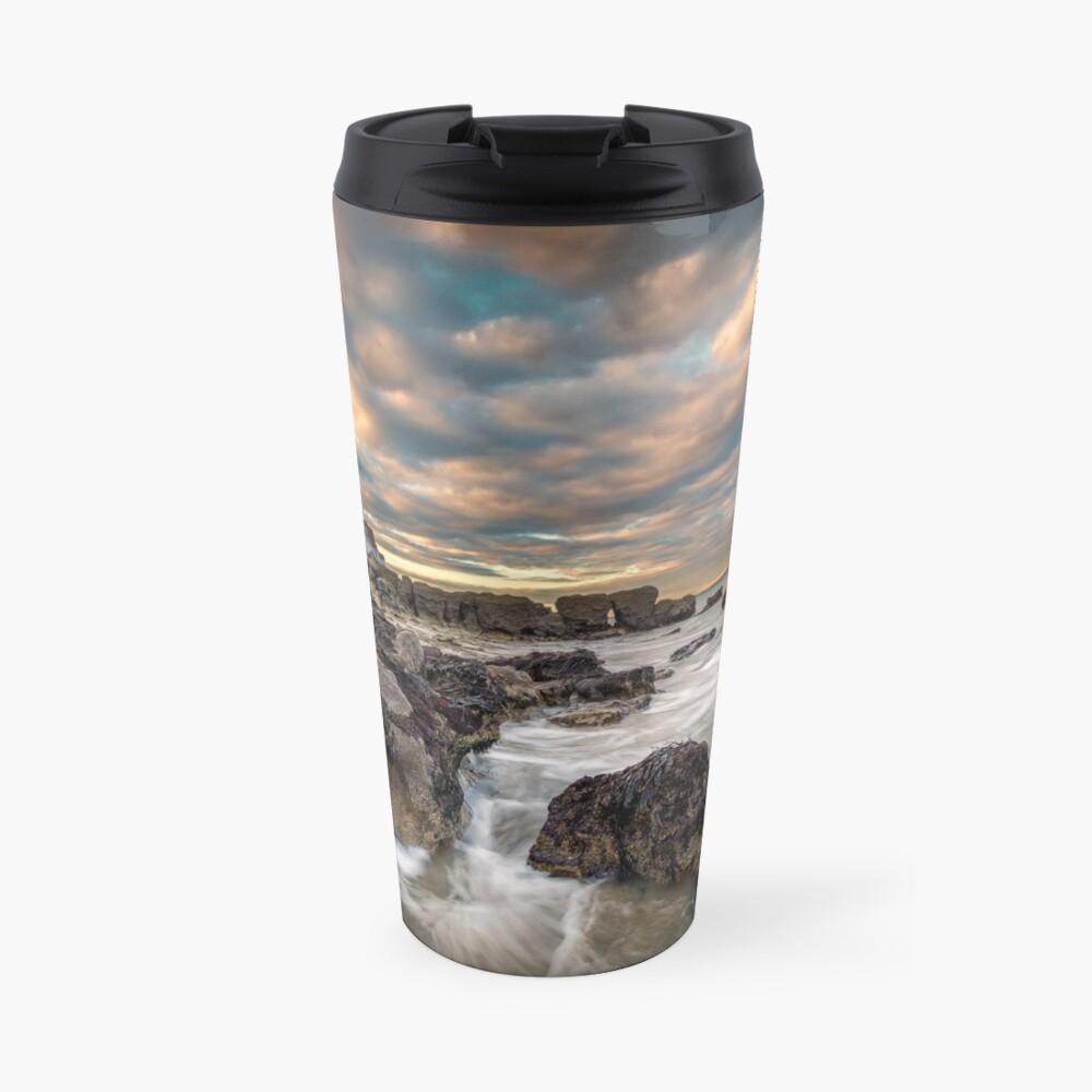 Rocky Beach Sunset At Seaview Isle Of Wight Travel Mug