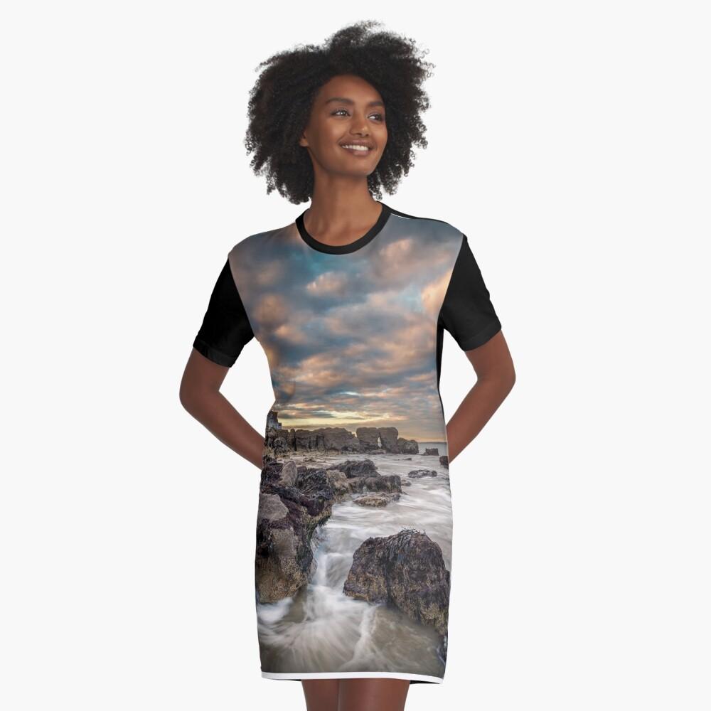 Rocky Beach Sunset At Seaview Isle Of Wight Graphic T-Shirt Dress