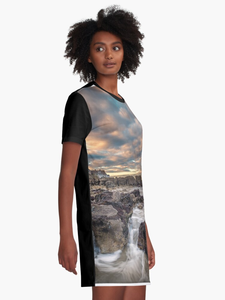 Alternate view of Rocky Beach Sunset At Seaview Isle Of Wight Graphic T-Shirt Dress