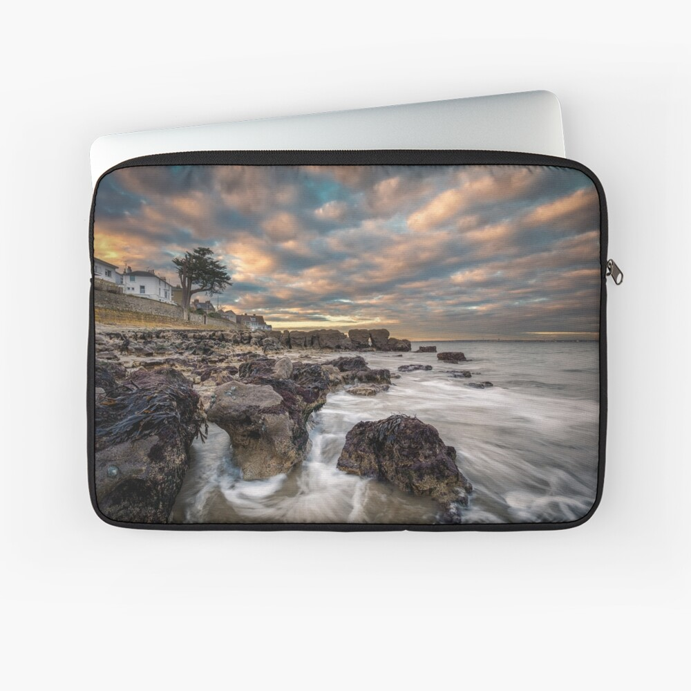 Rocky Beach Sunset At Seaview Isle Of Wight Laptop Sleeve