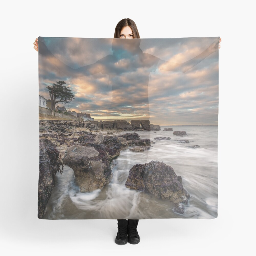 Rocky Beach Sunset At Seaview Isle Of Wight Scarf