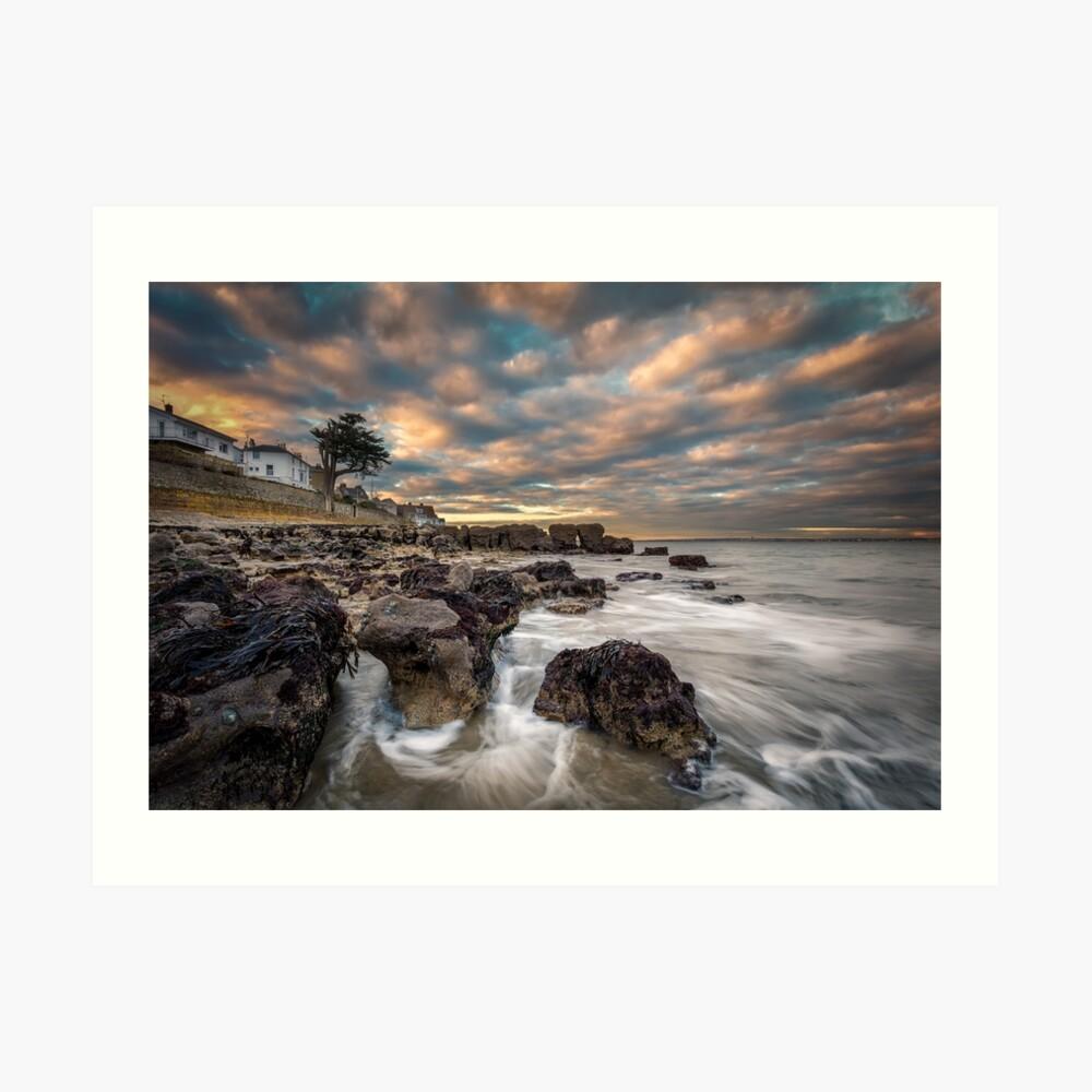 Rocky Beach Sunset At Seaview Isle Of Wight Art Print