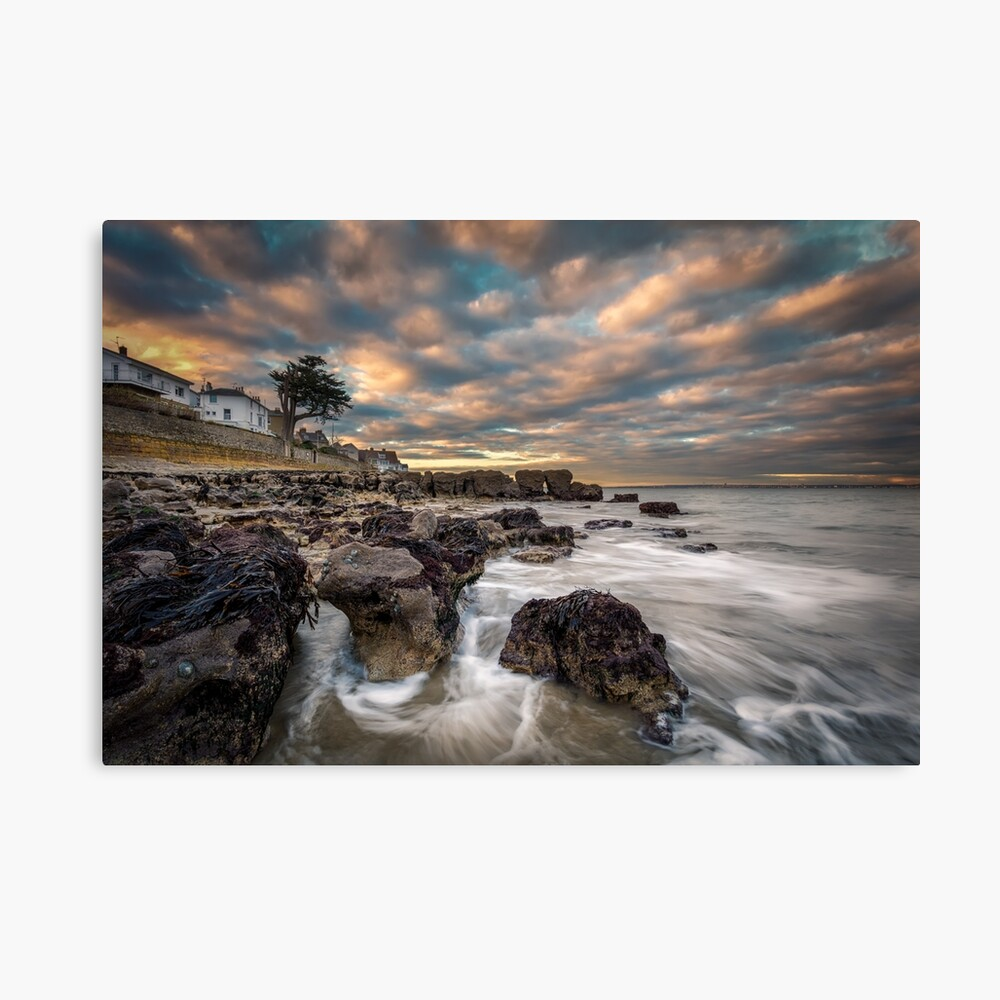 Rocky Beach Sunset At Seaview Isle Of Wight Canvas Print