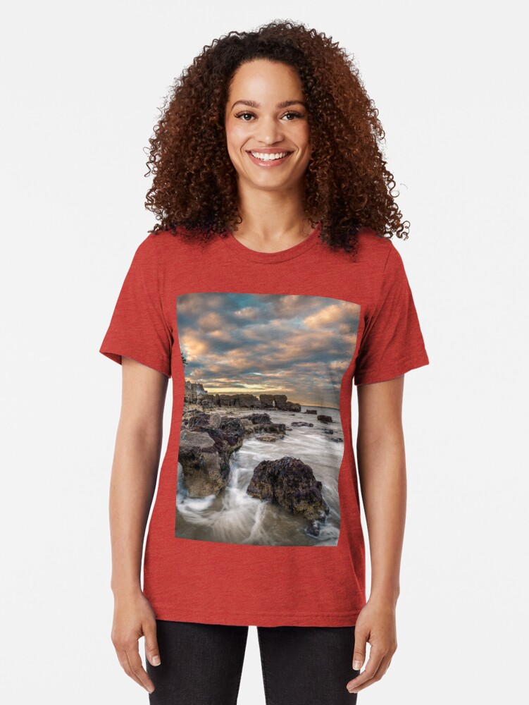 Alternate view of Rocky Beach Sunset At Seaview Isle Of Wight Tri-blend T-Shirt