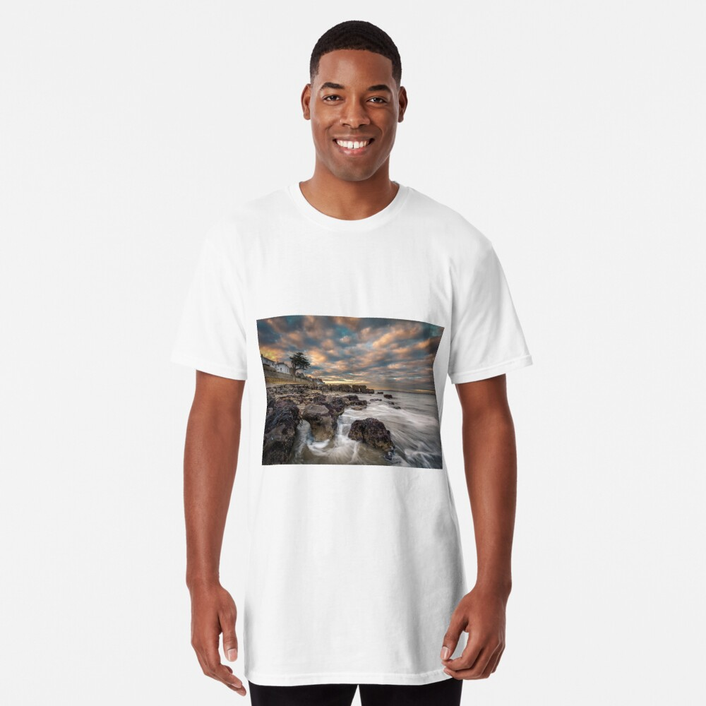 Rocky Beach Sunset At Seaview Isle Of Wight Long T-Shirt