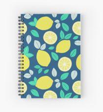 Summer Lemon Pattern in Navy Blue Spiral Notebook