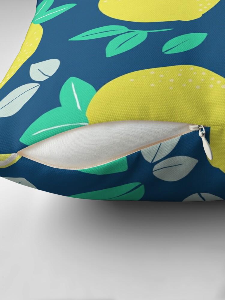 Alternate view of Summer Lemon Pattern in Navy Blue Throw Pillow