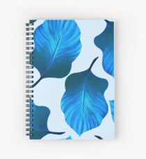 Tropical Leaves Pattern in Blue Spiral Notebook