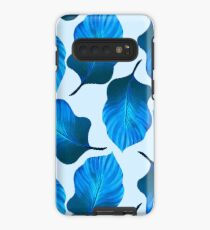 Tropical Leaves Pattern in Blue Case/Skin for Samsung Galaxy