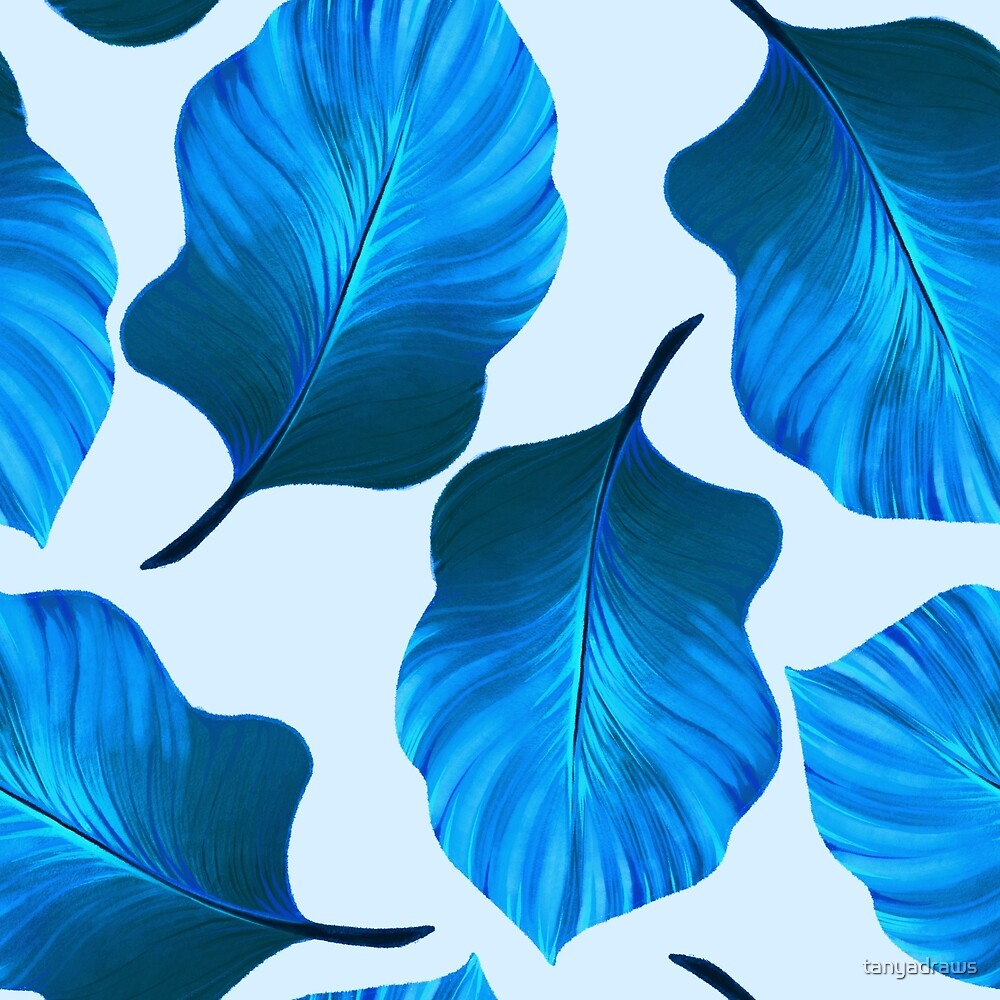 Tropical Leaves Pattern in Blue by tanyadraws