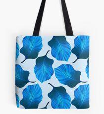 Tropical Leaves Pattern in Blue Tote Bag