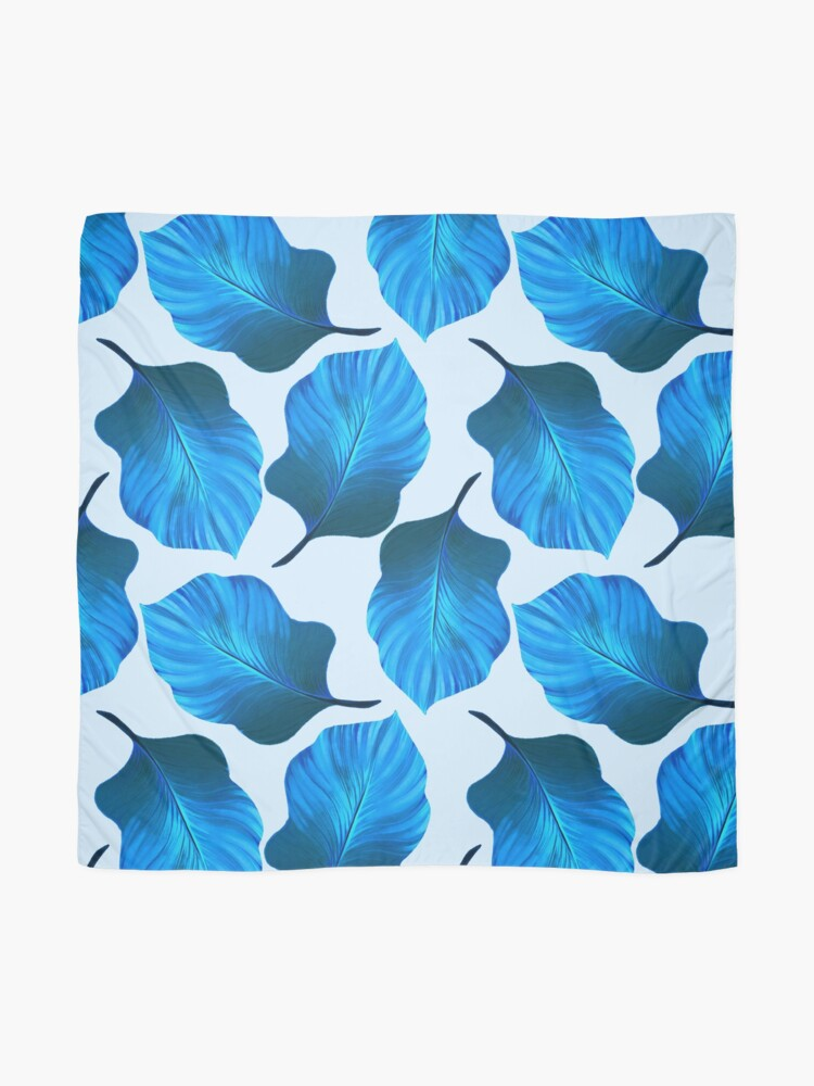 Alternate view of Tropical Leaves Pattern in Blue Scarf