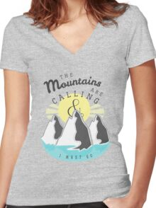 The Mountains are Calling... Women's Fitted V-Neck T-Shirt