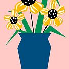 Yellow Flowers In A Blue Vase by Adam Regester