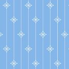 Pastel Blue and White Geometric Floral Pattern by WRosesPatterns