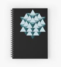 64 Tetrahedron - Cool Blues Spiral Notebook