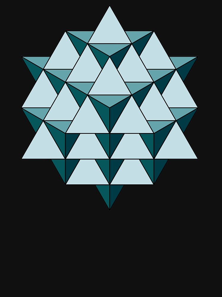 64 Tetrahedron - Cool Blues by rupertrussell