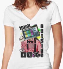 Think Outside The Box! Women's Fitted V-Neck T-Shirt