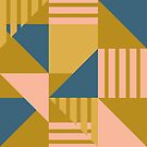 Geometric Abstract in Gold by latheandquill