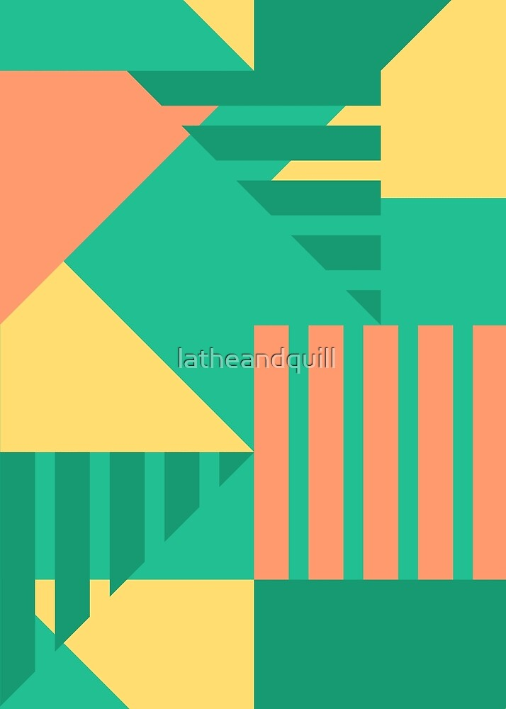 Geometric Abstract in Teal + Coral by latheandquill