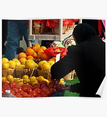 Amish Lady Shopping for Fruit  Poster