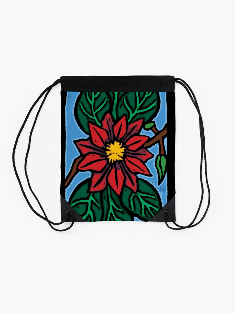 Alternate view of Red Flower Drawstring Bag