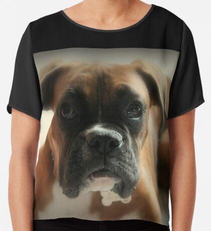Gesicht der Unschuld ~ Boxer-Hundeserie Chiffontop für Frauen