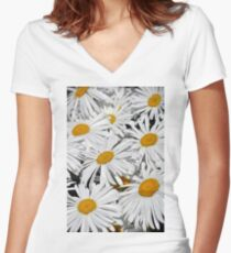 Pretty white daisies Women's Fitted V-Neck T-Shirt