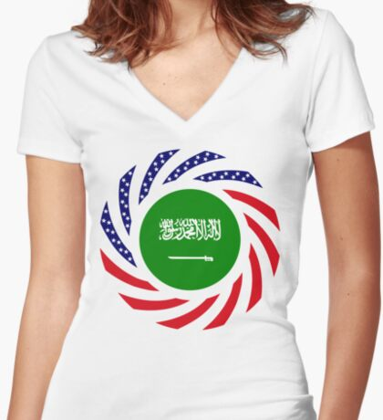 Saudi American Multinational Patriot Flag Series Fitted V-Neck T-Shirt
