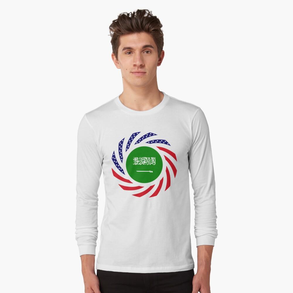 Saudi American Multinational Patriot Flag Series Long Sleeve T-Shirt