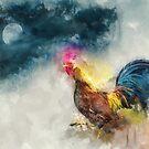 Nachtwanderung #watercolor #cock #digitalpainting von Creativeaxle