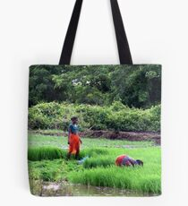 Working in the paddy fields  Tote Bag
