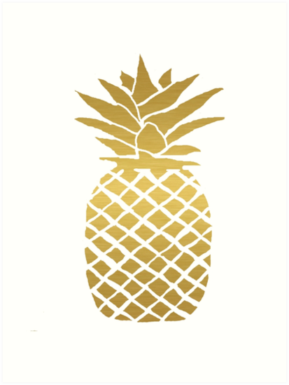 Quot Gold Foil Pineapple Quot Art Prints By Ahclock Redbubble