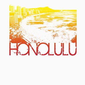 Honolulu Skyline T-shirt Design by FlagSilhouettes