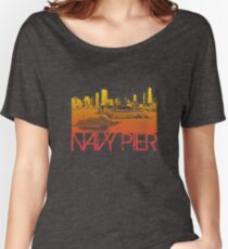 Chicago Navy Pier Skyline T-shirt Design Women's Relaxed Fit T-Shirt