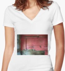 Railway Graveyard 07 (There is Beauty in Decay) Fitted V-Neck T-Shirt
